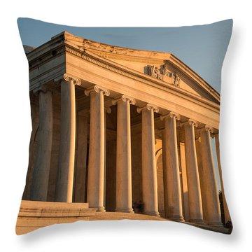 Jefferson Memorial Sunset Throw Pillow by Steve Gadomski