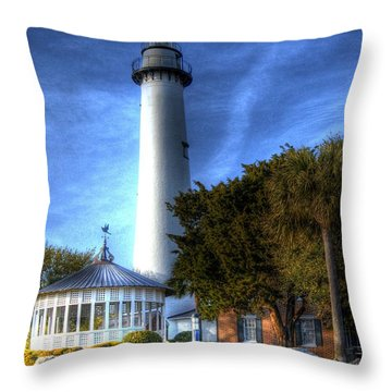 Jekyll Island Lighthouse Throw Pillow