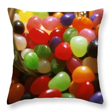Jelly Beans Spilling Out Of Glass Jar Throw Pillow by Anonymous