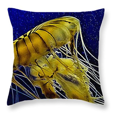 Jellyfish Aglow Throw Pillow