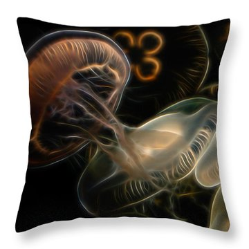 Jellyfish Digital Art Throw Pillow by Ernie Echols