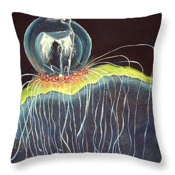 Throw Pillow featuring the painting Jellyfish.. by Jolanta Anna Karolska