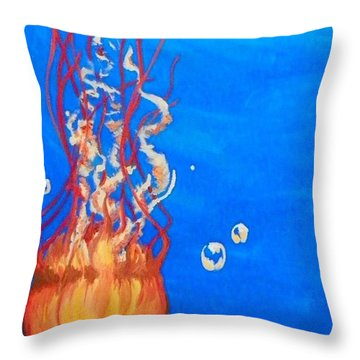 Throw Pillow featuring the painting Jellyfish by Marisela Mungia