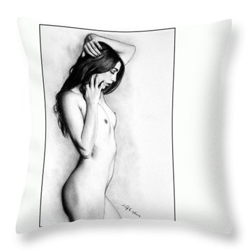 Throw Pillow featuring the drawing Jem - Print Only by Joseph Ogle