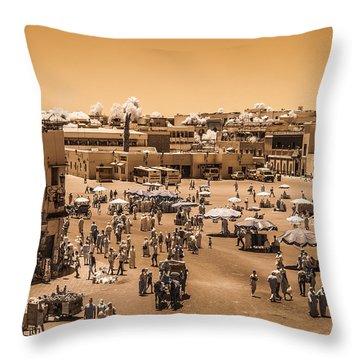 Jemaa El Fna Market In Marrakech At Noon Throw Pillow