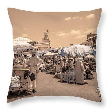 Jemaa El Fna Market In Marrakech Throw Pillow