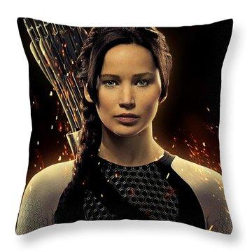 Jennifer Lawrence As Katniss Everdeen Throw Pillow