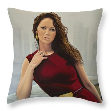 Jennifer Lawrence Painting Throw Pillow
