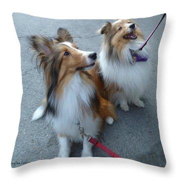 Jenny And Precious Throw Pillow by Lingfai Leung
