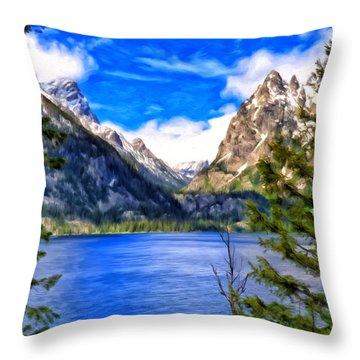 Jenny Lake Throw Pillow by Michael Pickett