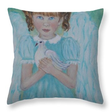 Jenny Little Angel Of Peace And Joy Throw Pillow by The Art With A Heart By Charlotte Phillips