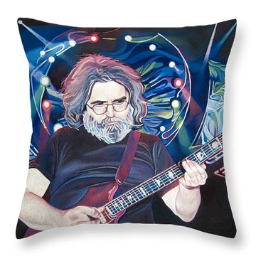 Jerry Garcia And Lights Throw Pillow by Joshua Morton