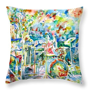 Jerry Garcia And The Grateful Dead Live Concert - Watercolor Portrait Throw Pillow