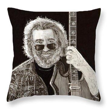 Jerry Garcia String Beard Guitar Throw Pillow