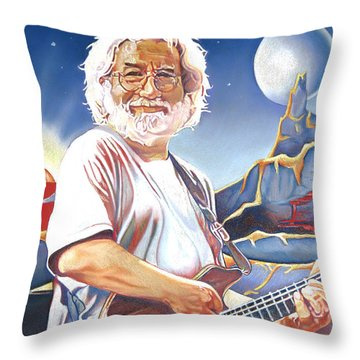 Jerry Garcia Live At The Mars Hotel Throw Pillow by Joshua Morton