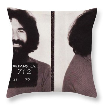 Jerry Garcia Mugshot Throw Pillow by Bill Cannon