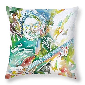 Jerry Garcia Playing The Guitar Watercolor Portrait.1 Throw Pillow