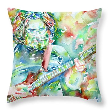 Jerry Garcia Playing The Guitar Watercolor Portrait.3 Throw Pillow