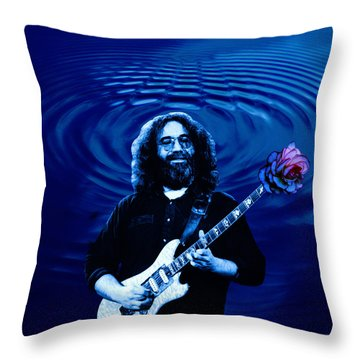 Blue Ripple Rose Throw Pillow