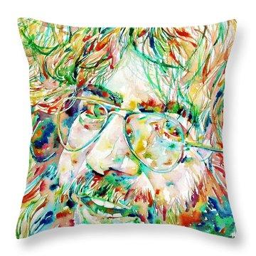 Jerry Garcia Watercolor Portrait.1 Throw Pillow