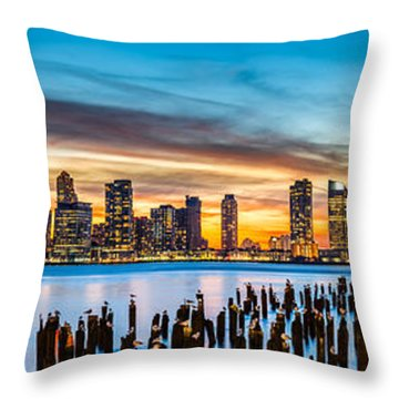 Jersey City Panorama At Sunset Throw Pillow