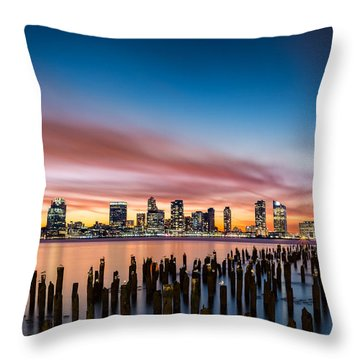Jersey City Skyline At Sunset Throw Pillow
