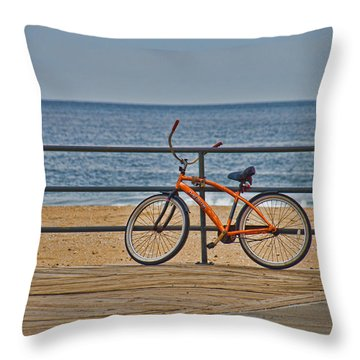 Throw Pillow featuring the photograph Jersey Shore Bicycle by Beth Sawickie