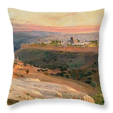 Jerusalem From The Mount Of Olives Throw Pillow by Edward Lear