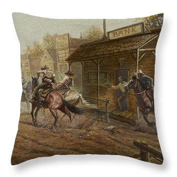 Jesse James Bank Robbery Throw Pillow