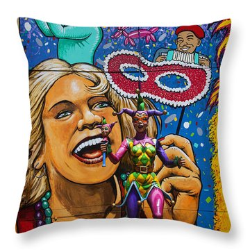 Jester Statue At The Fair Throw Pillow by Garry Gay