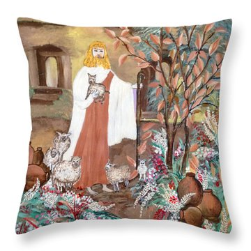 Jesus # 1. Tree Of Life Throw Pillow by Sima Amid Wewetzer