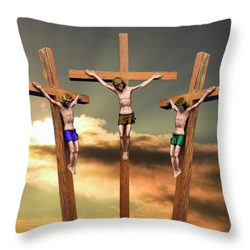 Jesus And The Two Thieves On The Cross Throw Pillow