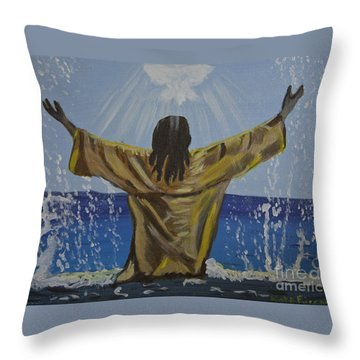 Jesus Baptism Throw Pillow by Kate Farrant