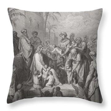 Jesus Blessing The Children Throw Pillow