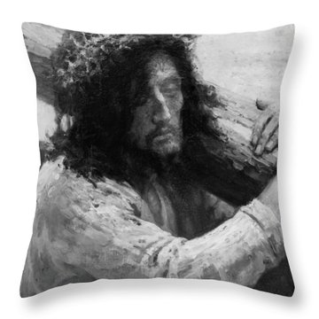 Jesus Carrying The Cross Circa 1898  Throw Pillow by Aged Pixel