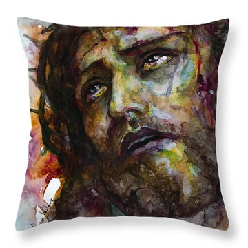 Throw Pillow featuring the painting Jesus Christ by Laur Iduc
