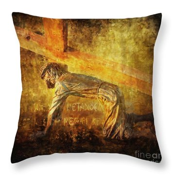 Jesus Falls Again Via Dolorosa 7 Throw Pillow by Lianne Schneider