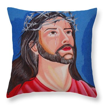 Jesus Hand Embroidery Throw Pillow by To-Tam Gerwe