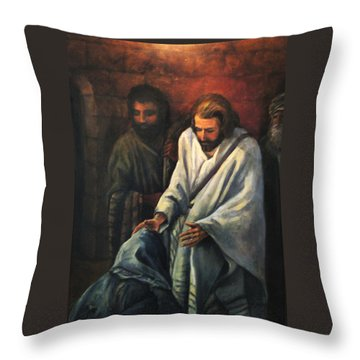 Jesus Healing Beggar Throw Pillow