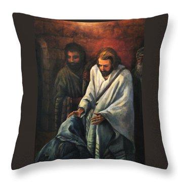 Jesus Healing Beggar Throw Pillow by Donna Tucker