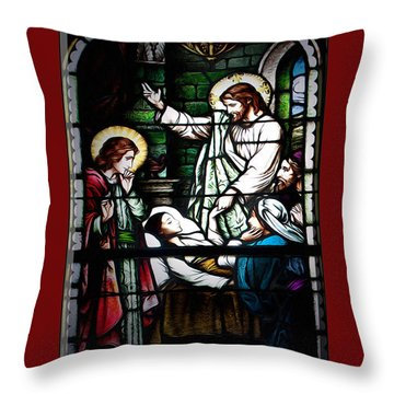 Jesus Heals Throw Pillow by Cecil Fuselier