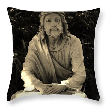 Jesus In The Garden Throw Pillow by Bob Sample