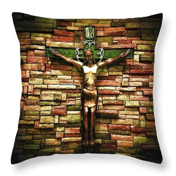 Jesus Is His Name Cream Border Throw Pillow