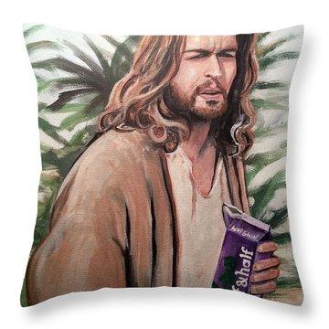Jesus Lebowski Throw Pillow by Tom Carlton