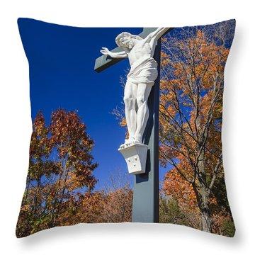 Jesus On The Cross Throw Pillow by Adam Romanowicz
