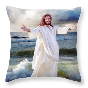 Jesus On The Sea Throw Pillow