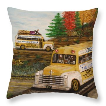 Jesus On Tour Throw Pillow by Larry Lamb