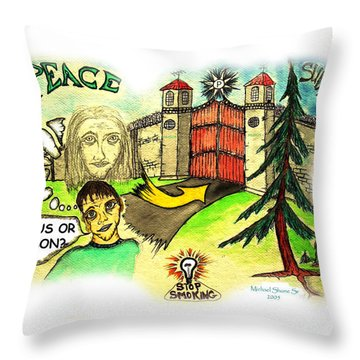 Jesus Or Prison Quit Smoking Throw Pillow