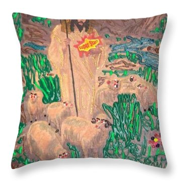Throw Pillow featuring the painting Jesus The Celebrity by Lisa Piper