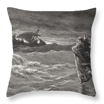 Jesus Walking On The Sea John 6 19 21 Throw Pillow
